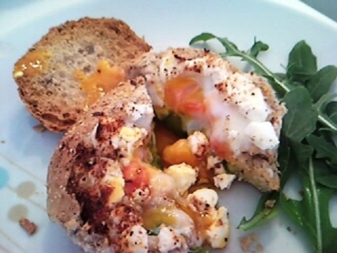 Television Eggs With Rocket, Feta and Tomato